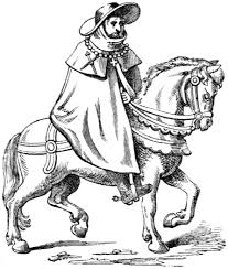 Merchant travels by horseback.