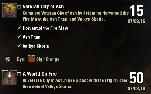 Veteran City of Ash Achievements