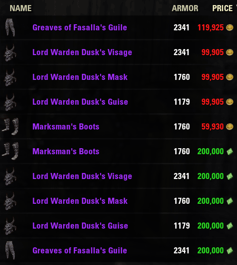 Alliance Vendor items for 2016-07-22