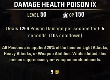 Damage Health Poison IX tooltip