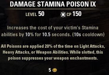 Damage Stamina Poison IX Tooltip