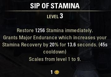 Sip of Stamina Tooltip
