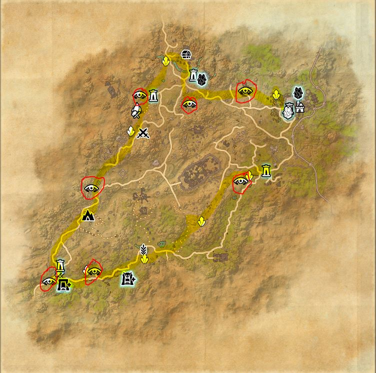 map: northern elsweyr. highlights a possible path to complete this achievement and collecting a few skyshards along the way.